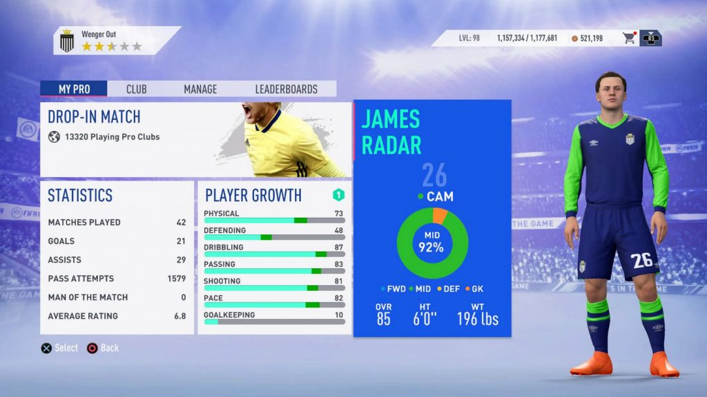 pro club height fifa 19